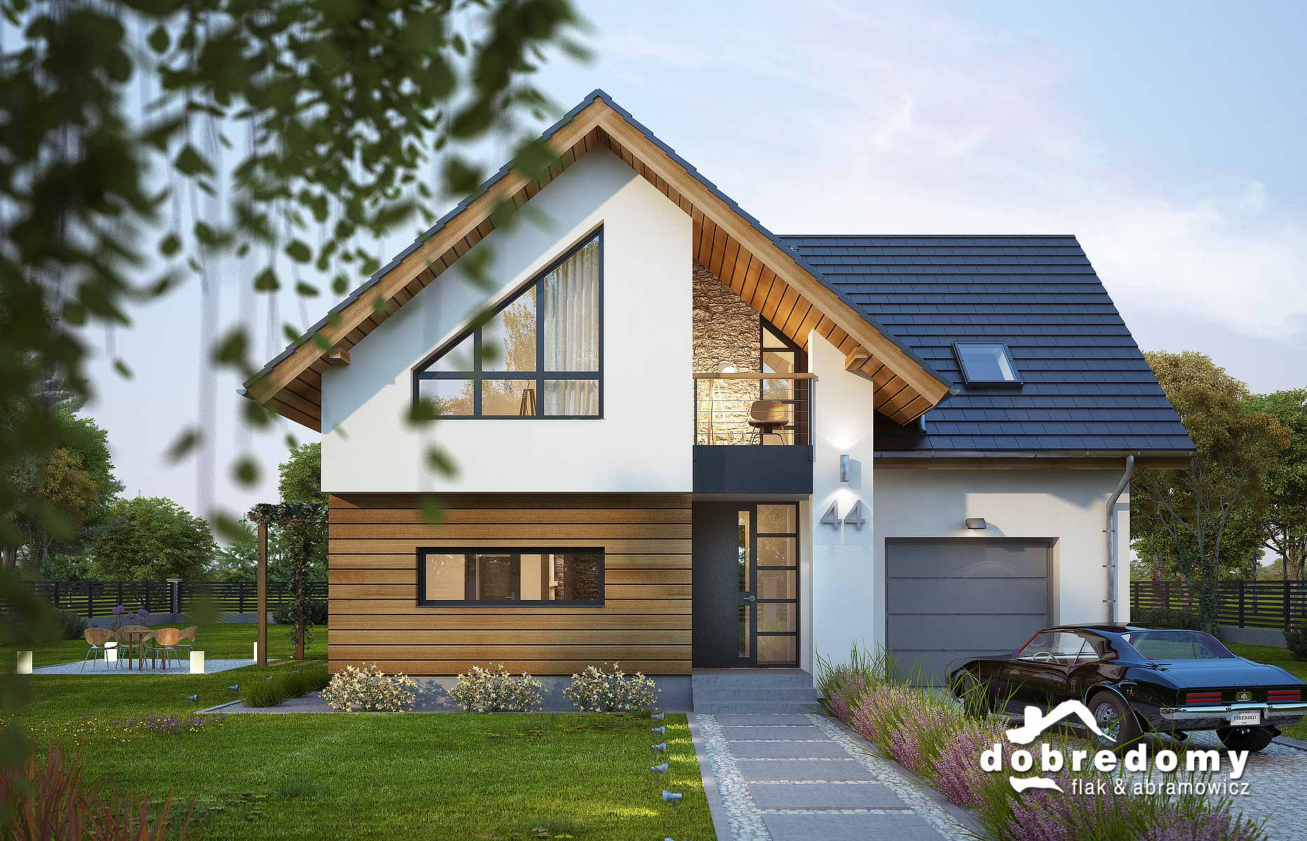 Nowoczesny dom z drewnianą elewacją