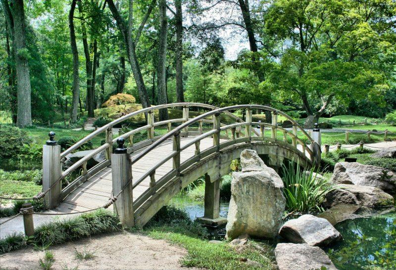 Mostek w ogrodzie angielskim