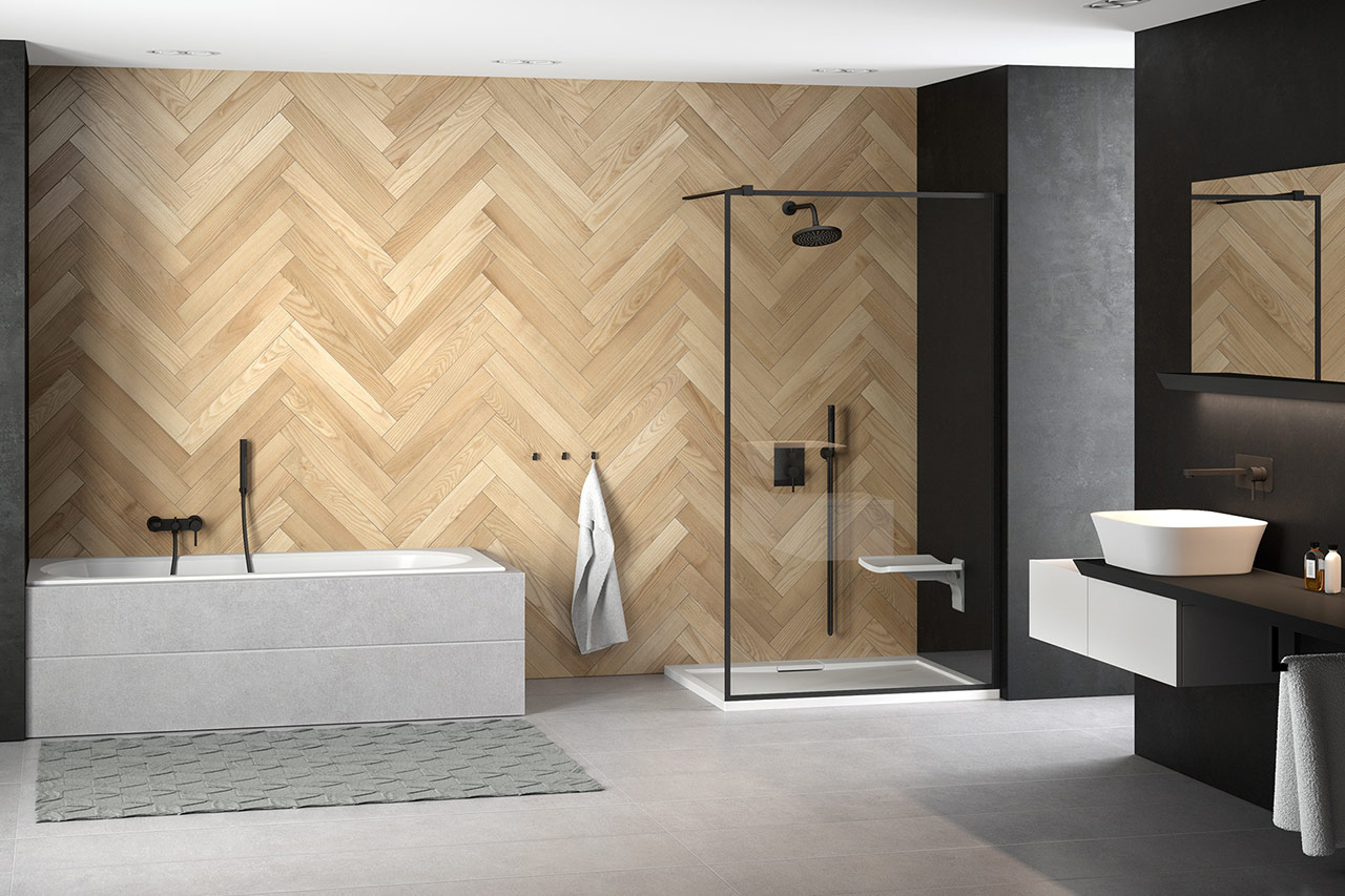 nowoczesna łazienka z drewnianą ścianą, wanną, prysznicem oraz szafką z umywalką